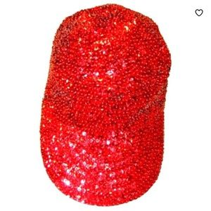 SEQUIN CITY RED SEQUIN BASEBALL CAP/ELASTIC STRAP